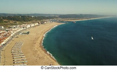View on Nazare atlantic coast and sandy beach in Portugal....