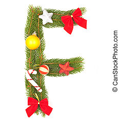 Christmas Alphabet Part of full set isolated on a white...