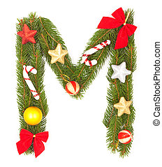 Christmas Alphabet. Part of full set isolated on a white...