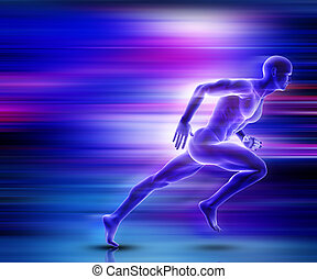 3D male figure sprinting with motion effect - 3D render of a...