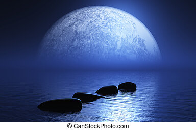 3D stepping stones in ocean with planet - 3D render of...