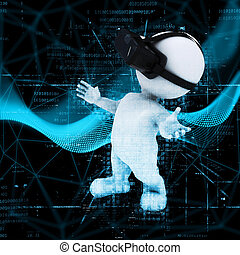 3D figure wearing VR headset on abstract code background -...