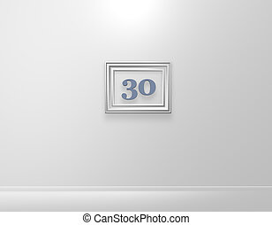 thirty - picture frame with number thirty on white wall - 3d...