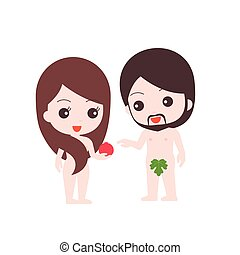 adam and eve illustration, while eve giving fruit of...
