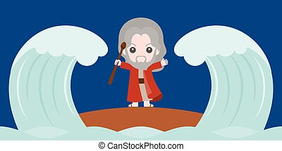 moses dividing the red sea in two parts, flat design cute...