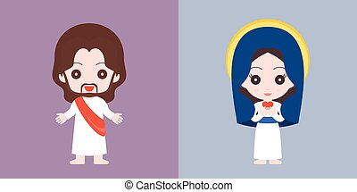 Jesus and Mary cute character, flat design vector...