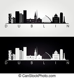 Dublin skyline and landmarks silhouette