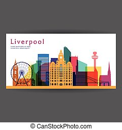 Liverpool colorful architecture vector illustration