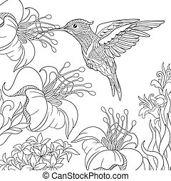 Zentangle stylized hummingbird - Coloring page of...