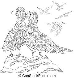 Zentangle stylized seagulls - Coloring page of two seagulls,...