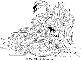 Zentangle stylized two swans - Coloring page of swan couple...