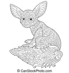 Zentangle stylized fennec fox - Coloring page of fennec fox,...