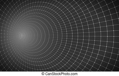 Vector Wireframe Tunnel Vortex Illusion Technology Background
