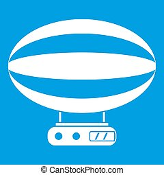 Aerial transportation icon white isolated on blue background...