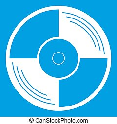 Vinyl record icon white isolated on blue background...