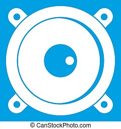 Audio speaker icon white isolated on blue background...