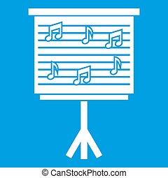 Whiteboard with music notes icon white isolated on blue...