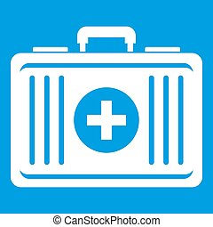 First aid icon white isolated on blue background...