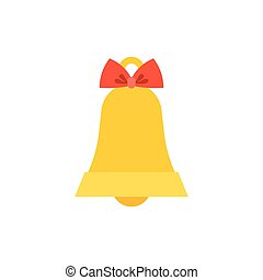 Golden bell with red ribbon icon for Christmas, flat design