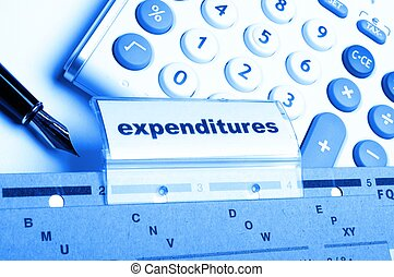 expenditures word on business folder showing costs finance...
