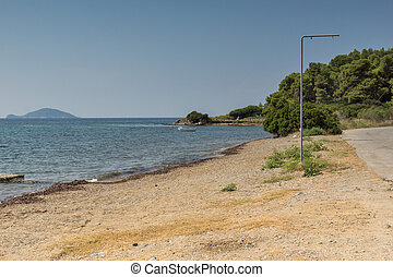 Panoramic view of Koutsoupia Beach at Sithonia peninsula,...