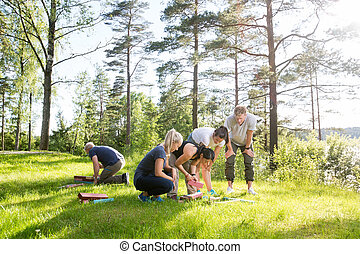 Friends Playing With Building Blocks On Grassy Field -...
