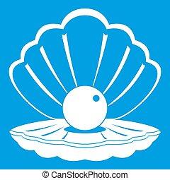 Pearl in a sea shell icon white