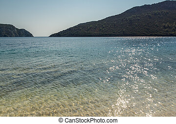 Panoramic view of Porto Koufo Beach at Sithonia peninsula,...