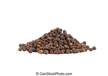 Pile of black whole pepper isolated on white background