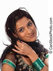 Sari - Middle eastern woman wearing a traditional sari