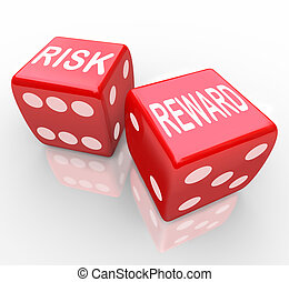 Risk and Reward - Words on Dice - Two red dice with the...