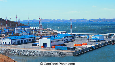 Pump station for oil swapping on a vessel near to a city the...