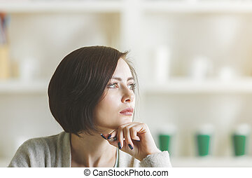Thoughtful woman portrait - Close up portrait of thoughtful...