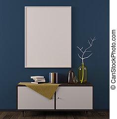 Cozy scandinavian room with whiteboard - Cozy scandinavian...