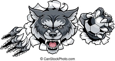 Wolf Soccer Mascot Breaking Background - A wolf angry animal...