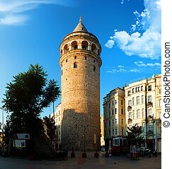 View on Galata Tower and old turkish tram at the square of...