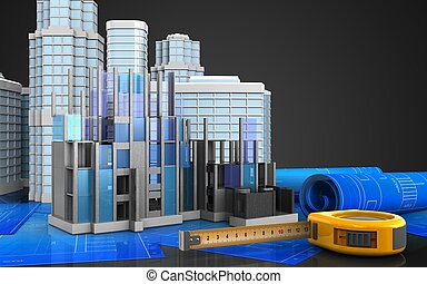 3d of ruler - 3d illustration of construction progress with...