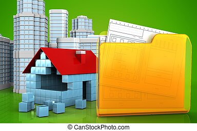 3d blank - 3d illustration of house blocks construction with...