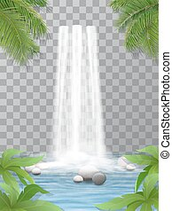 waterfall stones jungle - Realistic vector waterfall with...