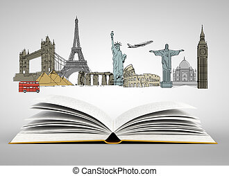 Holiday concept - Open book with travel sketch. Holiday...