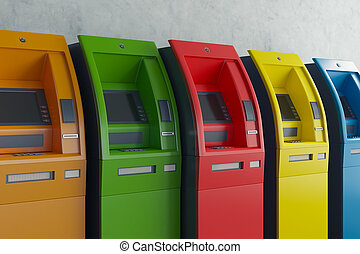 Colorful ATM machines side - Row of colorful ATM machines on...