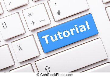 tutorial key with word showing internet or online software...