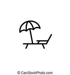 deckchair with umbrella icon thin line black