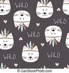 Seamless pattern with cute indian cats. Vector illustration...