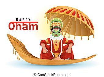 Happy Onam greeting card. Hindu festival of Kerala in India....