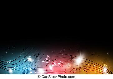flerfärgad, musik, noteringen