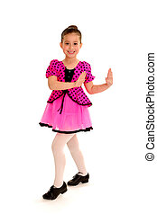 Smiling Tap Dancer - A young smiling tap dancer girl in...