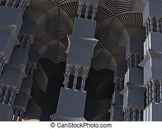 Alien Pillars Abstract Fractal Design