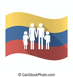 Isolated Venezuela flag with a conventional family pictogram...
