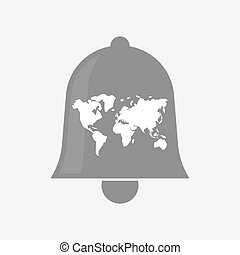 Isolated bell with a world map